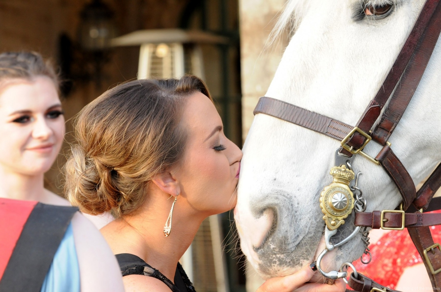 Guest kissing horse Edinburgh Ball