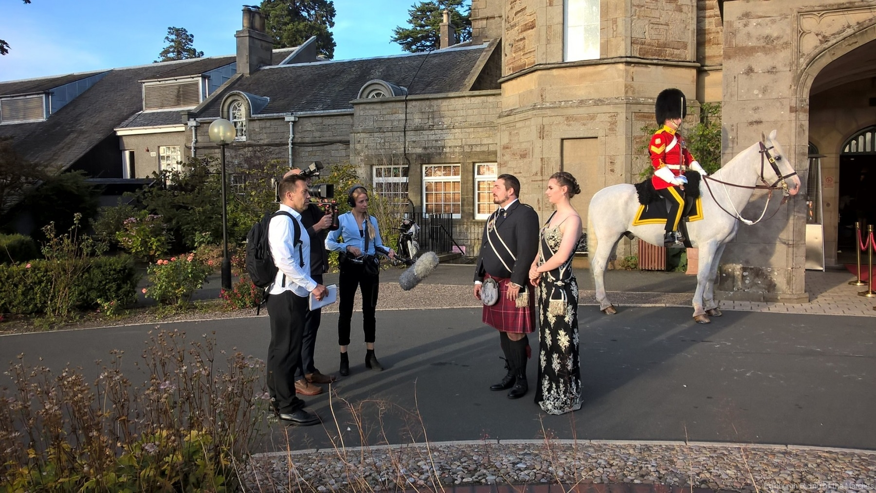 2019 Edinburgh Captain and Lass interviewed by German TV crew from ZDF TV outside Dalmahoy