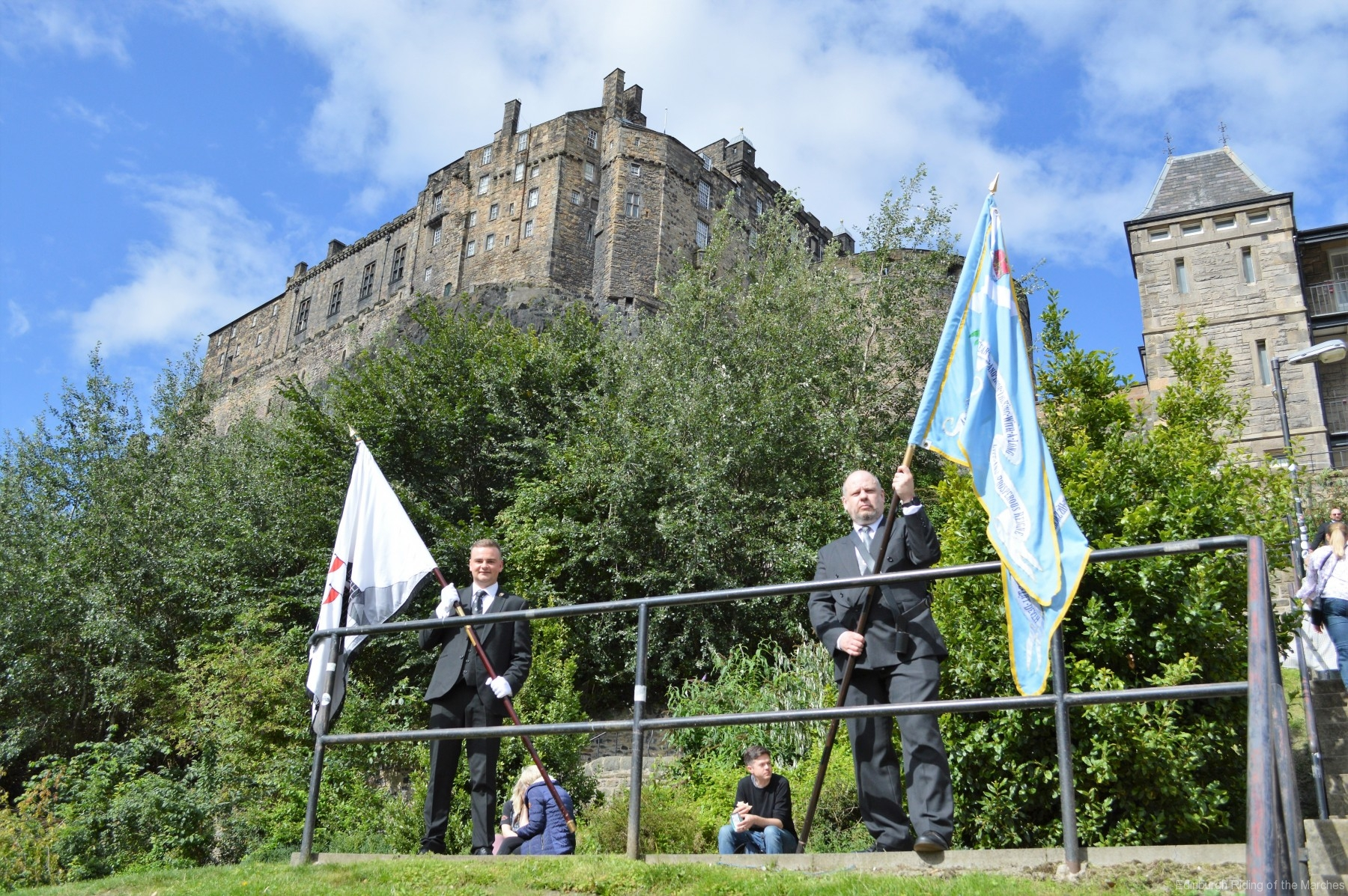2021 Captain Elect Jay Sturgeon carrying City of Banner and Gordon Rutter carrying Blue Blanket