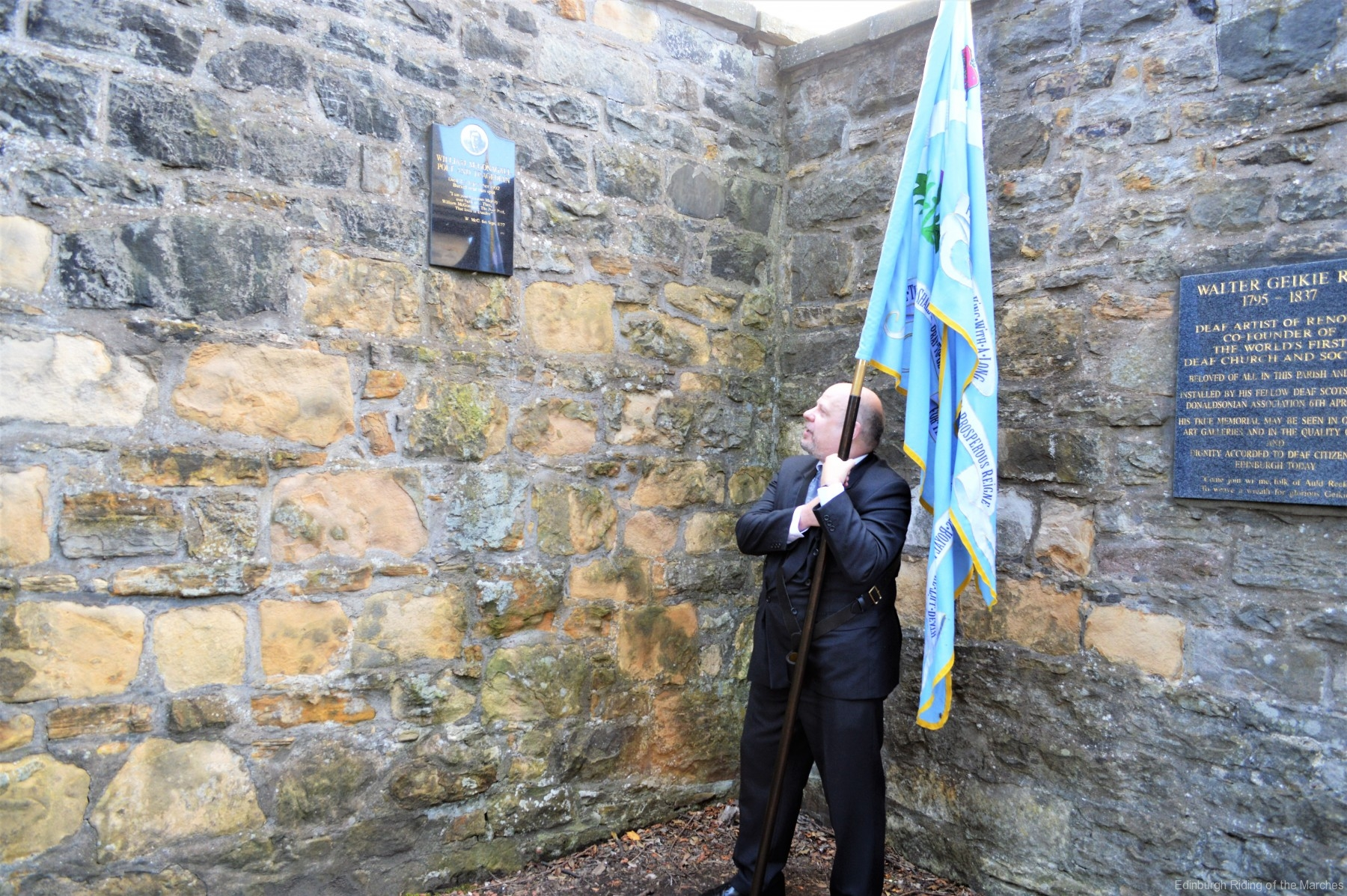 Gordon Rutter, bearer of the Blue Blanket for Incorporated Trades of Edinburgh and Historian to Edinburgh March Riding Association