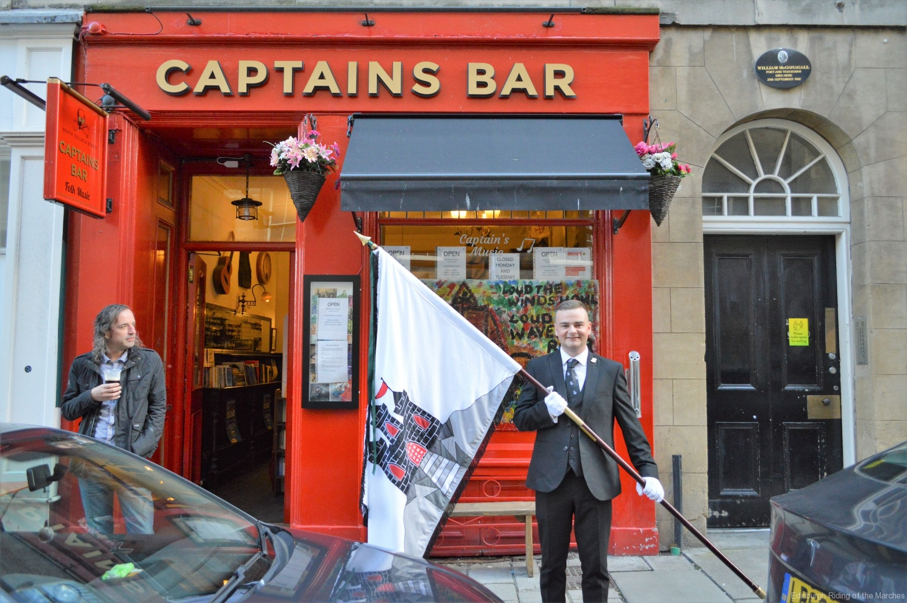 2021 Captain Elect, Jay Sturgeon outside the Captains Bar - our traditional annual photo op!