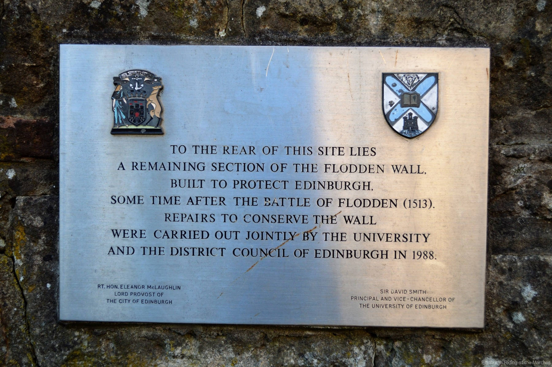 Plaque regarding Flodden Wall