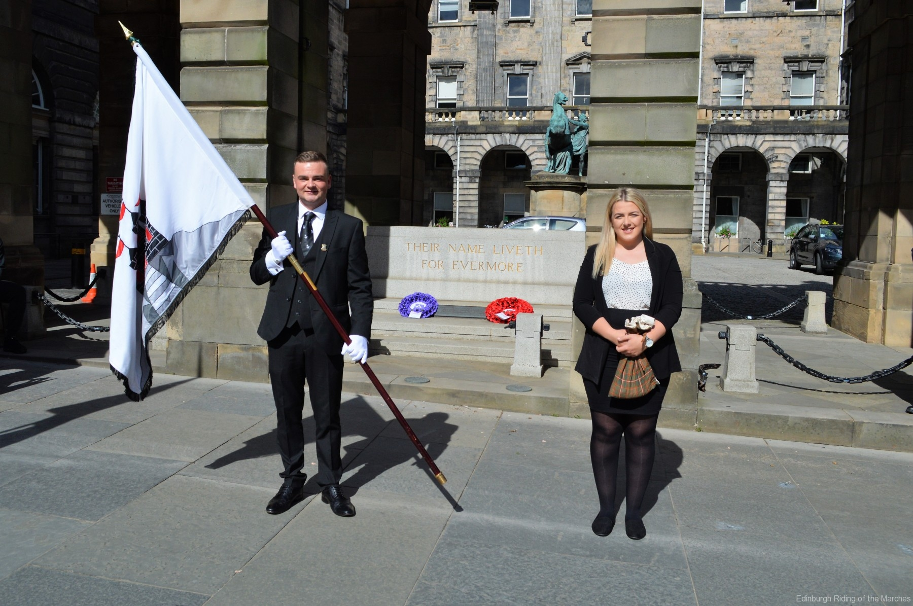 2021 Captain and Lass Elect, Jay Sturgeon and Abbie McDowall following the laying of the wreath at the City Chambers War Memorial